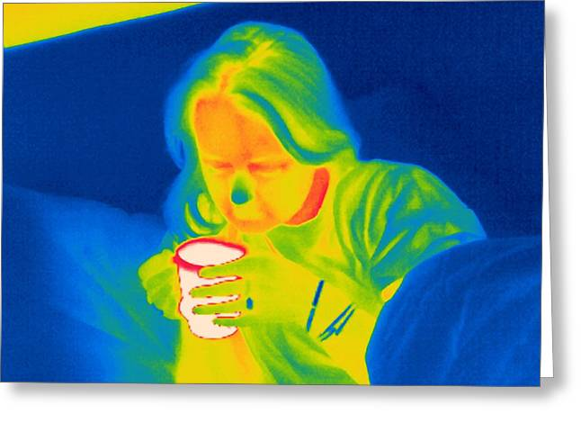 Convalescing Greeting Cards - Hot Drink, Thermogram Greeting Card by Tony Mcconnell