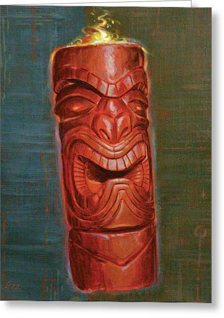 Tiki Art Greeting Cards - Hot Headed Tiki Greeting Card by Shawn Shea