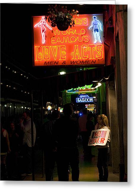 French Quarter Greeting Cards - Hot Neon Love Greeting Card by Bourbon  Street