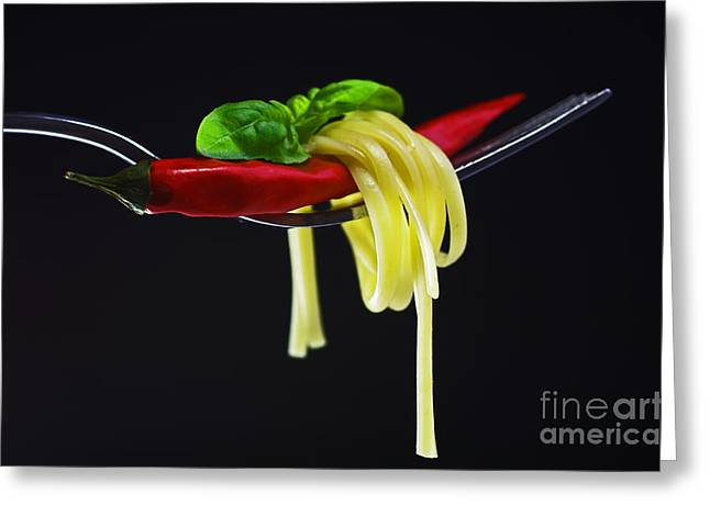 Spaghetti Noodles Greeting Cards - Hot Pasta  Greeting Card by Tanja Riedel