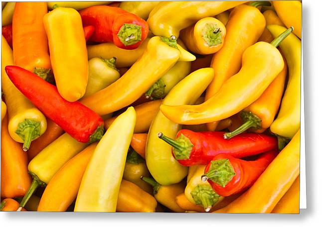 Hot Peppers Greeting Cards - Hot Peppers Red and Yellow Greeting Card by Douglas Barnett