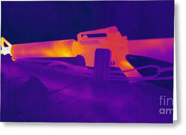 Hot Gun Greeting Cards - Hot Rifle Greeting Card by Ted Kinsman