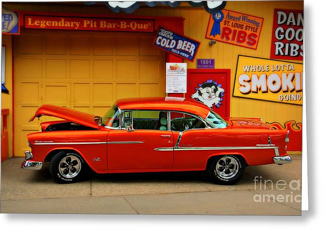 Black Pig Greeting Cards - Hot Rod BBQ Greeting Card by Perry Webster