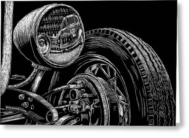 Hot Rodder Greeting Cards - Hot Rod Bob Greeting Card by Bomonster
