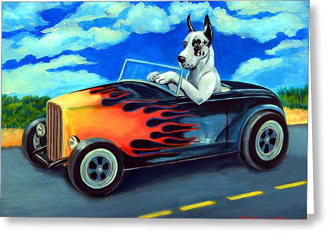 Great Paintings Greeting Cards - Hot Rod Harl Greeting Card by Lyn Cook