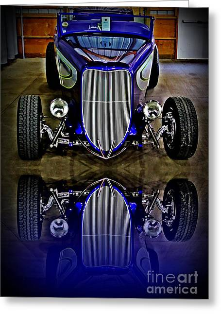 Grill Paint Greeting Cards - Hot Rod Reflection Greeting Card by Perry Webster