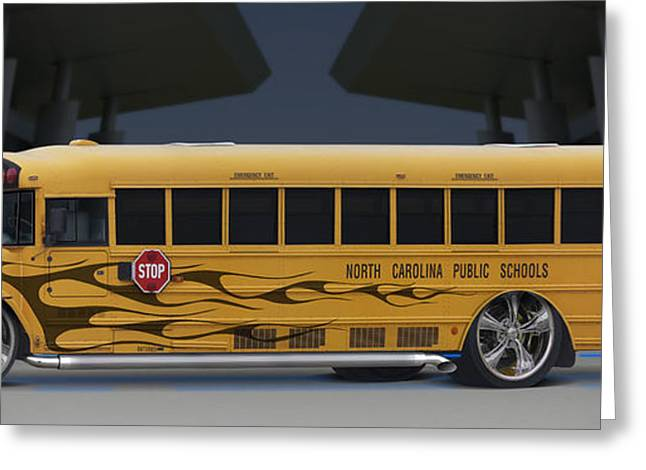 Hot Rod School Bus Greeting Card by Mike McGlothlen