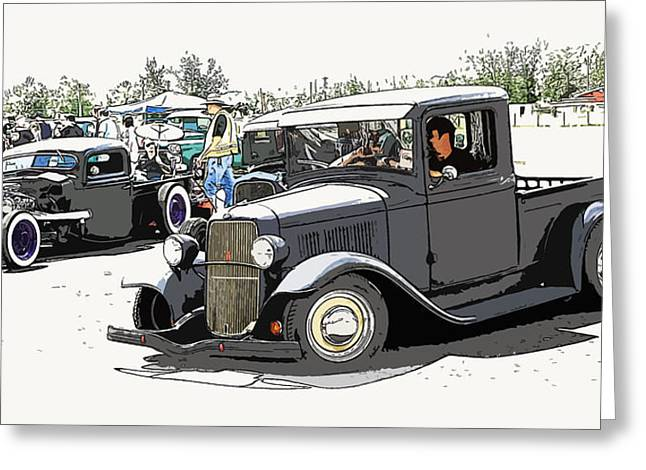 1932-1937 Greeting Cards - Hot Rod Show Trucks Greeting Card by Steve McKinzie