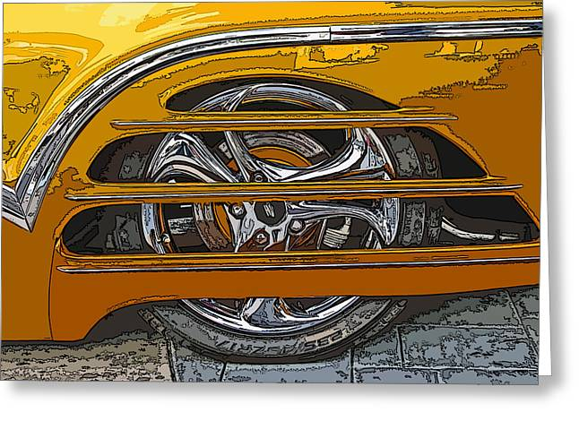 Hot Rod Wheel Cover Greeting Card by Samuel Sheats