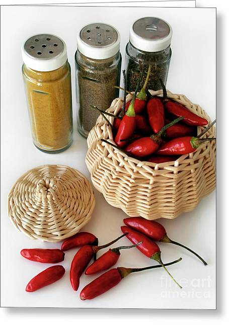 Paprika Greeting Cards - Hot Spice Greeting Card by Carlos Caetano