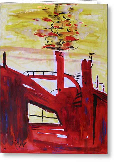 Stack Drawings Greeting Cards - Hot Steel Stack Greeting Card by Mary Carol Williams