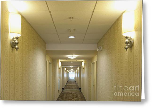 Journeys End Greeting Cards - Hotel Corridor Greeting Card by Dave & Les Jacobs