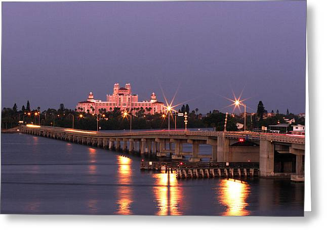 Bridge Road Greeting Cards - Hotel Don Cesar The Pink Palace St Petes Beach Florida Greeting Card by Mal Bray
