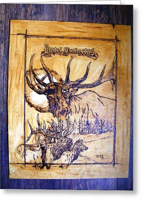 Hunting Pyrography Greeting Cards - Hotel Hubertus-Elk Phyrography Greeting Card by Egri George-Christian