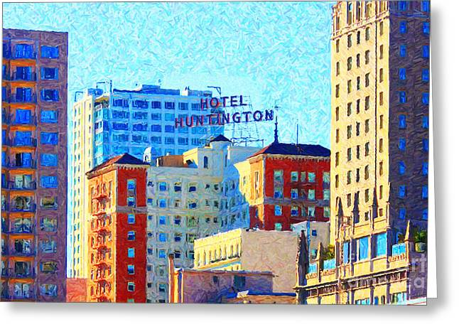 Highrise Digital Art Greeting Cards - Hotel Huntington Greeting Card by Wingsdomain Art and Photography