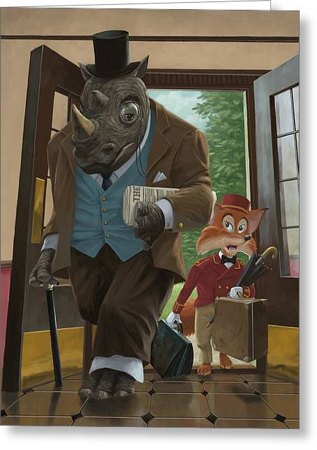 Kids Room Art Greeting Cards - Hotel Rhino And Porter Fox Greeting Card by Martin Davey