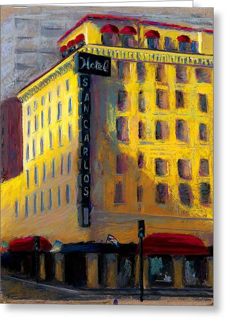 Downtown Pastels Greeting Cards - Hotel San Carlos Greeting Card by Sandra Ortega