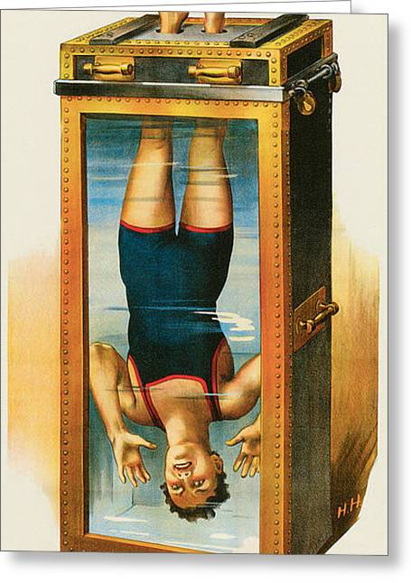 Tricks Paintings Greeting Cards - Houdini Water Filled Torture Cell Greeting Card by Unknown
