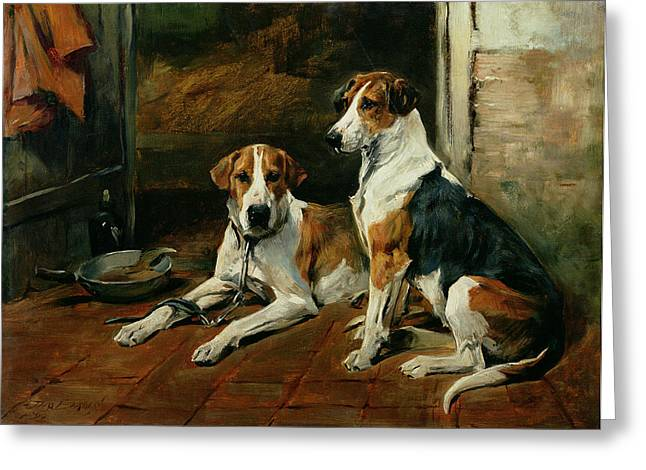 Hounds Paintings Greeting Cards - Hounds in a Stable Interior Greeting Card by John Emms