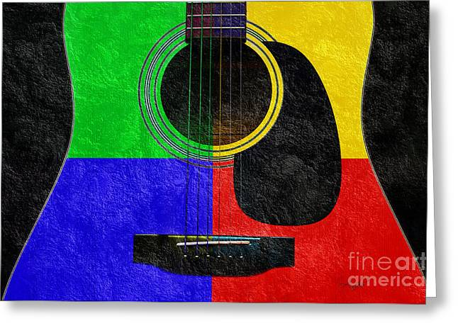 Equipment Mixed Media Greeting Cards - Hour Glass Guitar 4 Colors 1 Greeting Card by Andee Design