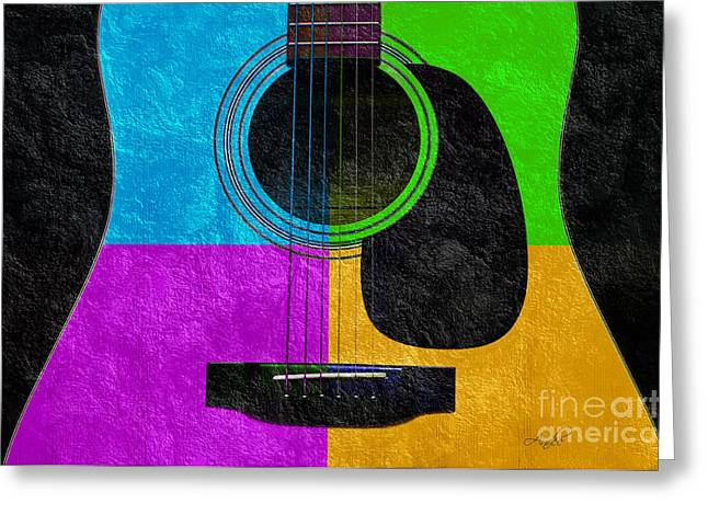 Object Mixed Media Greeting Cards - Hour Glass Guitar 4 Colors 3 Greeting Card by Andee Design