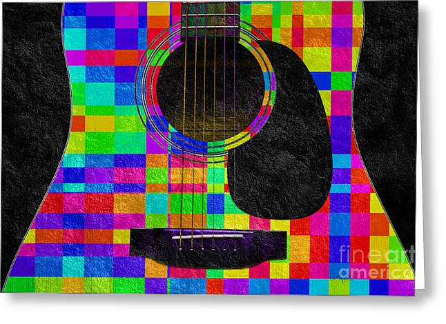 Object Mixed Media Greeting Cards - Hour Glass Guitar Random Rainbow Squares Greeting Card by Andee Design