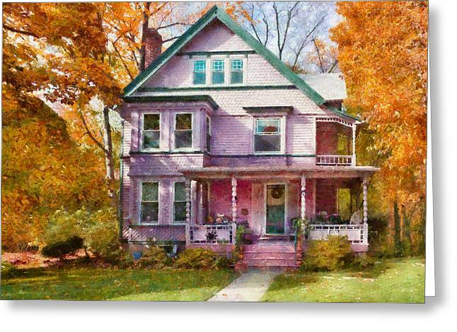 Customizable Greeting Cards - House - Cranford NJ - An Adorable house Greeting Card by Mike Savad