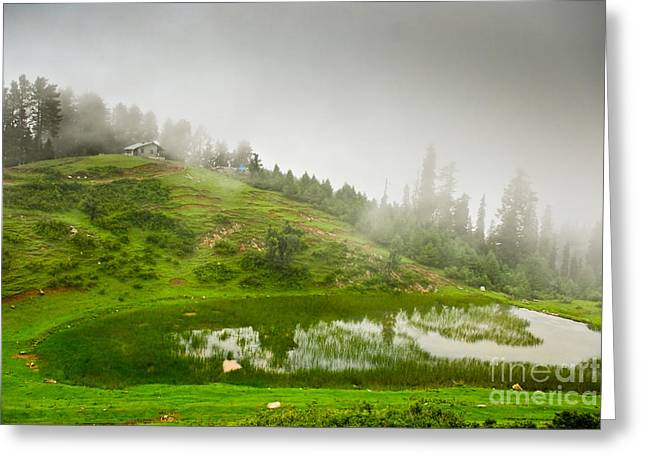 Eye Of Heaven Greeting Cards - House And Fog Greeting Card by Syed Aqueel