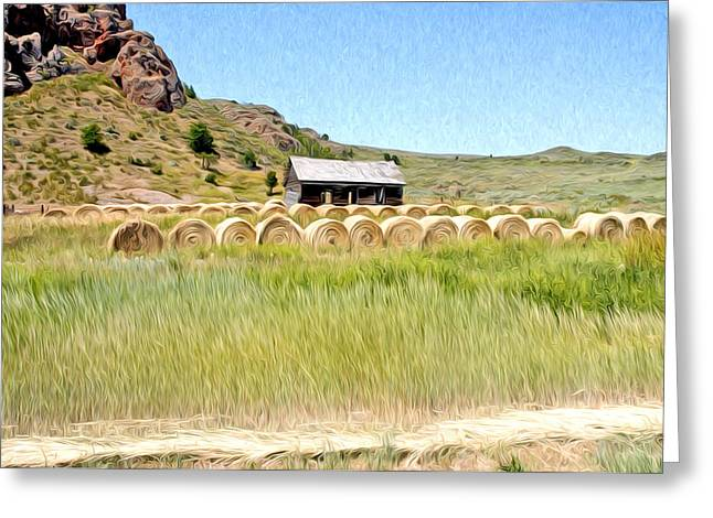 Photohraphy Greeting Cards - House And Hay Bails Greeting Card by James Steele
