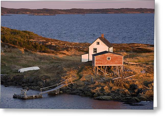 Boat-shed Greeting Cards - House And Stage, Change Islands Greeting Card by John Sylvester