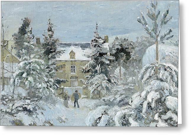 Winters Greeting Cards - House at Montfoucault Greeting Card by Camille Pissarro