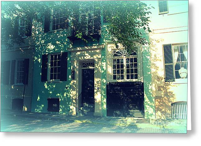 Charleston Houses Greeting Cards - House Door 9 in Charleston SC  Greeting Card by Susanne Van Hulst