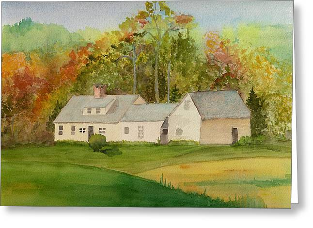 Maine Spring Paintings Greeting Cards - House down the Hill Greeting Card by Peggy Bergey