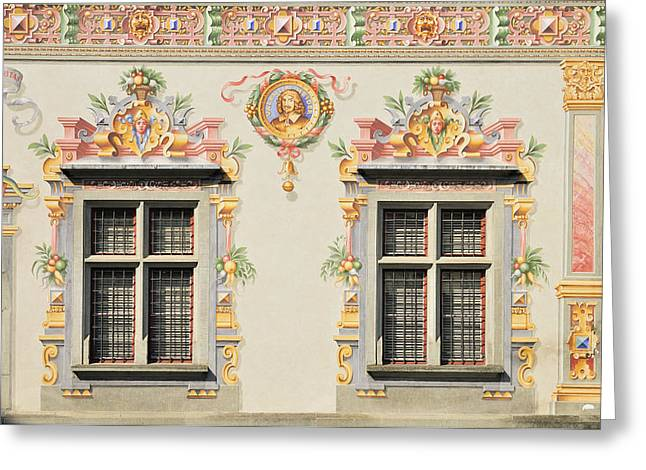 Painted Hall Greeting Cards - House facade Lindau Germany Greeting Card by Matthias Hauser
