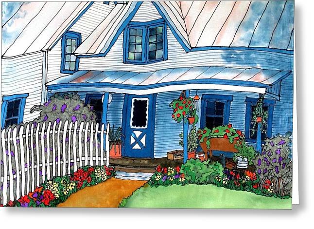 Linda Marcille Greeting Cards - House Fence and Flowers Greeting Card by Linda Marcille