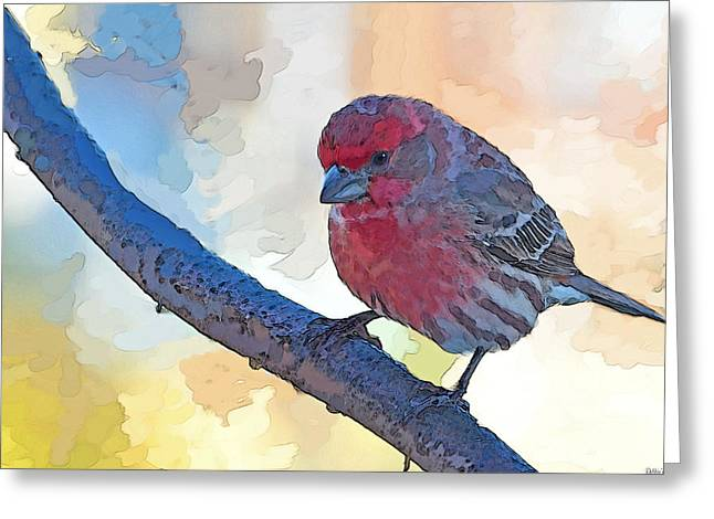 Blank Greeting Cards Mixed Media Greeting Cards - House finch III Painted effect Greeting Card by Debbie Portwood