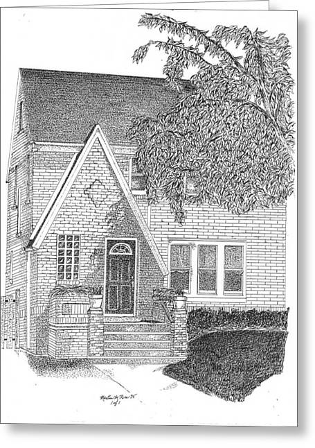 Historic Home Mixed Media Greeting Cards - House / Home Rendering Greeting Card by Marty Rice