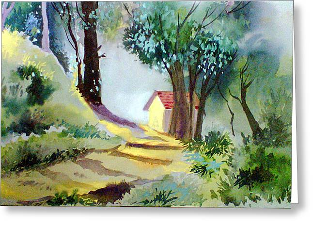 Anil Nene Greeting Cards - House in greens Greeting Card by Anil Nene