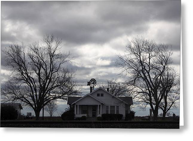 Stormy Night Greeting Cards - House in Stromy Night Greeting Card by Linda Phelps