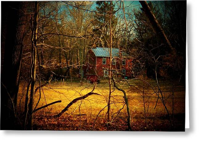 Mountain Cabin Greeting Cards - House in the Forest Greeting Card by Joyce Kimble Smith