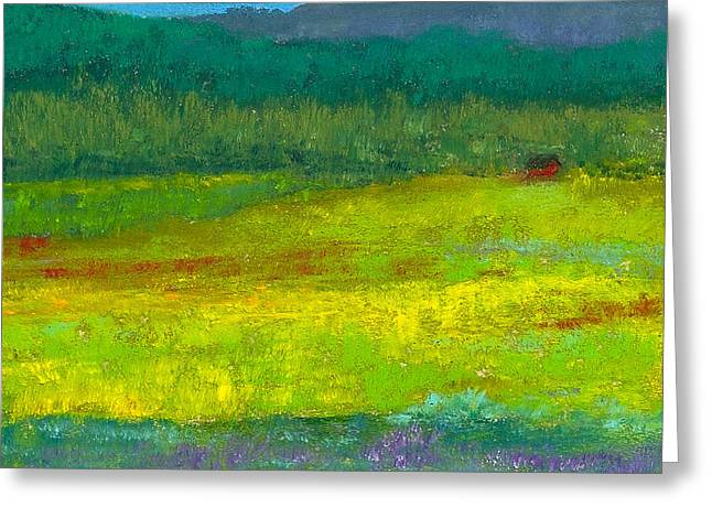 David Pastels Greeting Cards - Cabin in the Meadow Greeting Card by David Patterson