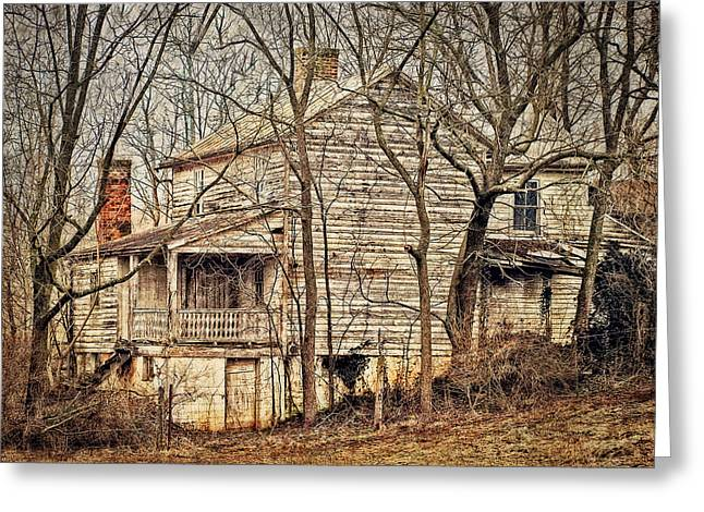 Abandoned House Greeting Cards - House In The Woods Greeting Card by Kathy Jennings