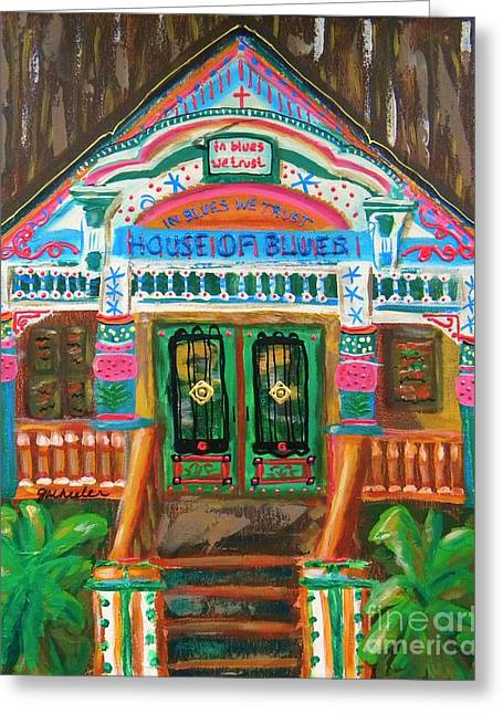 The Houses Mixed Media Greeting Cards - House of Blues Greeting Card by JoAnn Wheeler