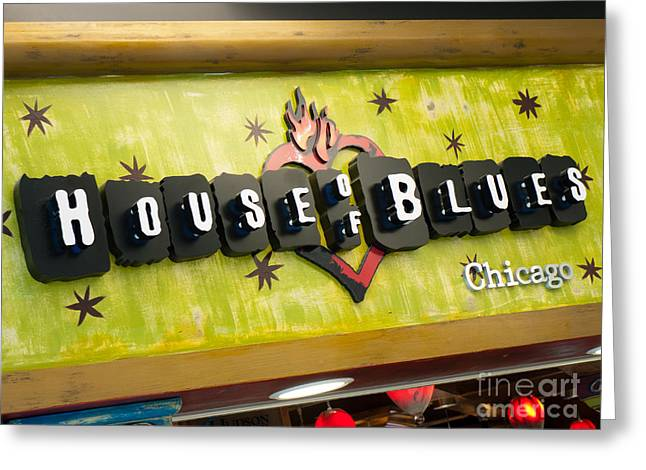 Editorial Greeting Cards - House of Blues Sign Chicago Greeting Card by Paul Velgos