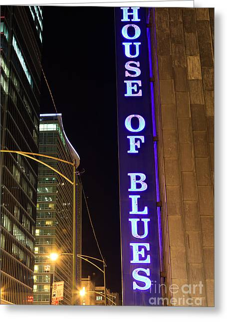 Editorial Photographs Greeting Cards - House of Blues Sign in Chicago Greeting Card by Paul Velgos