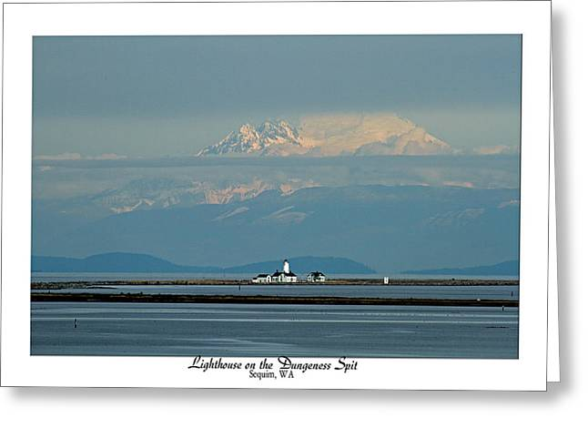 Pacific Northwest Greeting Cards - Dungeness Spit Lighthouse - Mt. Baker - Washington Greeting Card by Marie Jamieson