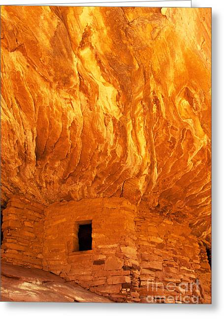 Slickrock Greeting Cards - House on Fire Ruin Portrait 3 Greeting Card by Bob and Nancy Kendrick