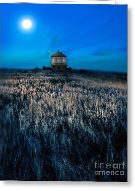 Field. Cloud Greeting Cards - House on the Prairie under a Full Moon Greeting Card by Jill Battaglia