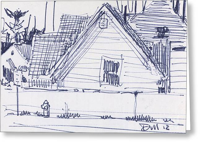 Pen And Ink Drawings Greeting Cards - House Sketch One Greeting Card by Donald Maier