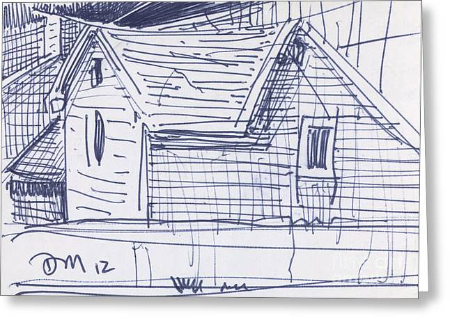 Pen And Ink Drawings Greeting Cards - House Sketch Two Greeting Card by Donald Maier